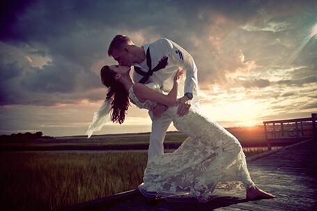 Wedding Photo of bride & groom at Wrightsville Beach NC