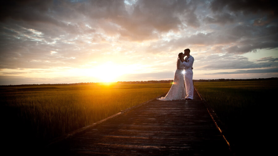sunset photo of bride & groom near Topsail island NC